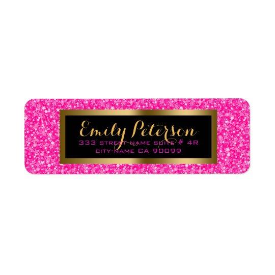 Elegantt shock rosa- och vitglitter returadress etikett