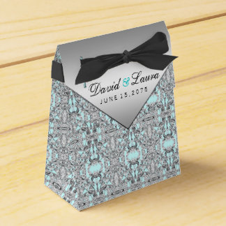 Elegantt silver- och krickablåttbröllop presentaskar