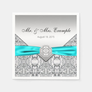 Elegantt silver- och krickablåttbröllop servett