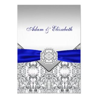 Elegantt silver och kungliga 12,7 x 17,8 cm inbjudningskort