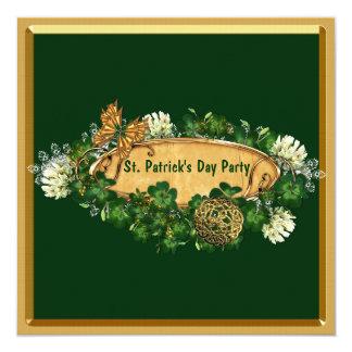 Elegantt Sts Patrick dagparty Fyrkantigt 13,3 Cm Inbjudningskort