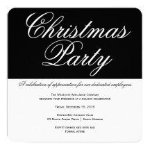 Elegantt svartvitt kontorsjulparty inbjudan