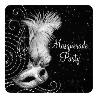Elegantt svartvitt maskeradparty fyrkantigt 13,3 cm inbjudningskort