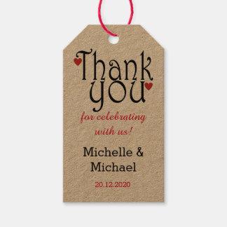Elegantt typografibrölloptack presentetikett