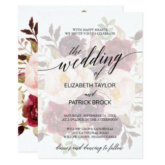Elegantt urblektt blom- bröllop för Calligraphy | 12,7 X 17,8 Cm Inbjudningskort