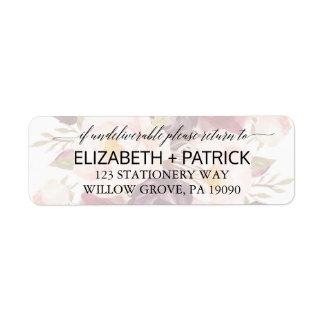 Elegantt urblektt blom- bröllop för Calligraphy | Returadress Etikett