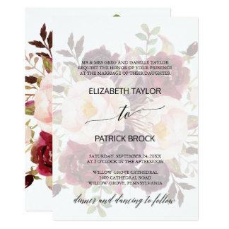 Elegantt urblektt blom- formellt bröllop för 12,7 x 17,8 cm inbjudningskort