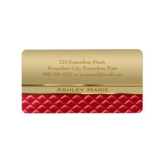 Elegantt vadderat rött läder för Faux metalliskt g Adressetikett