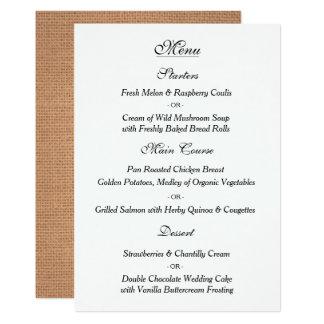 Elegantt vintage bröllopmenykort 12,7 x 17,8 cm inbjudningskort