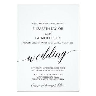 Elegantt vit- och svartCalligraphybröllop 12,7 X 17,8 Cm Inbjudningskort