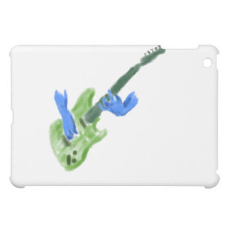 Elektrisk gitarrmålning, grön gitarrblåtthänder iPad mini mobil fodral
