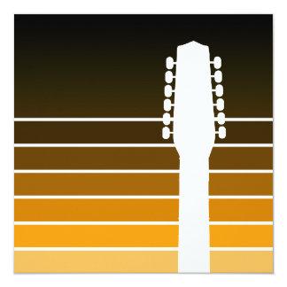 elektrisk gitarrsilhouette: bärnsten bleknar fyrkantigt 13,3 cm inbjudningskort