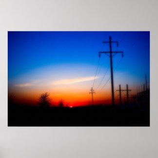 """Elektrisk solnedgång"" - fotoet landskap på kanfas Print"