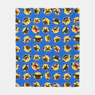 Elektriska blått för Emoji mops Fleecefilt