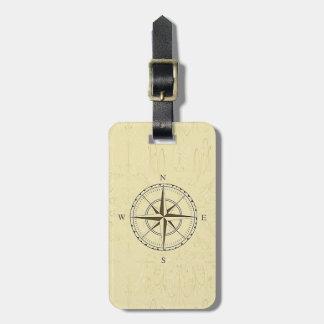 Elfenben för nautisk kompass för vintage rosa bagagebricka