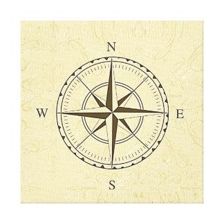 Elfenben för nautisk kompass för vintage rosa canvastryck