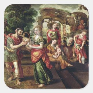 Eliezer och Rebecca på brunnen, 1562 Fyrkantigt Klistermärke