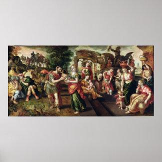 Eliezer och Rebecca på brunnen, 1562 Poster