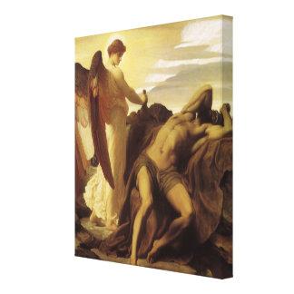 Elijah i vildmark av Lord Frederic Leighton Canvastryck