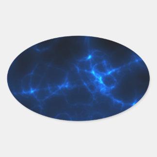 Elkraften chockar i mörk - blått ovalt klistermärke