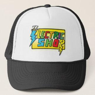 Elkraften shoppar den kulöra logotyphatten (den keps