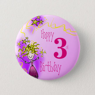 Emblem för 3rd födelsedag för lycklig rosa felikt standard knapp rund 5.7 cm