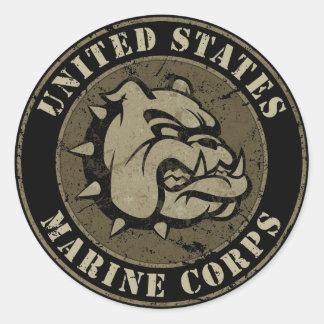 Emblem för djävulenhundvintage runt klistermärke