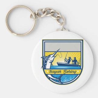 Emblem för Marlin för kajakfiskeblått Rund Nyckelring