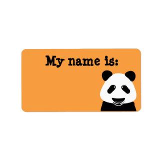 Emblem för namn för orange för Pandabjörn modernt Adressetikett