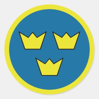 Emblem för tre kronasvensk runt klistermärke