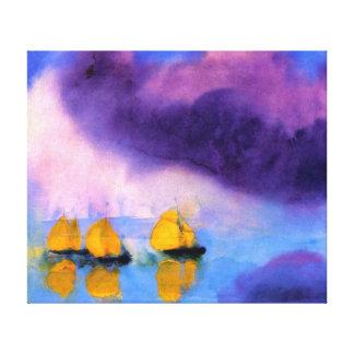 Emil Nolde - hav med Violetmoln och segelbåtar Canvastryck