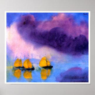 Emil Nolde - hav med Violetmoln och segelbåtar Poster