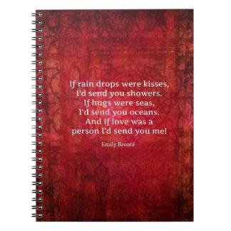 Emily Bronte nyckfullt romanskt citationstecken Anteckningsbok Med Spiral