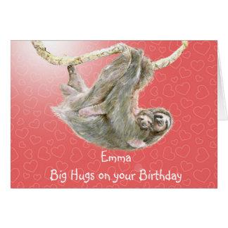 Emma stora kramar på din födelsedag. slothkort hälsningskort