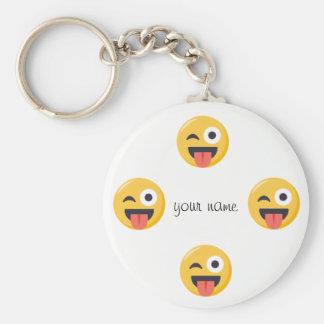 """Emoji ansikte och '' ditt namn här """", rund nyckelring"""