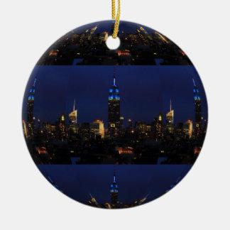 Empire state som bygger alla i blått, NYC-horisont Julgransprydnad Keramik