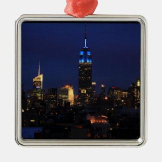 Empire state som bygger alla i blått, NYC-horisont Julgransprydnad Metall