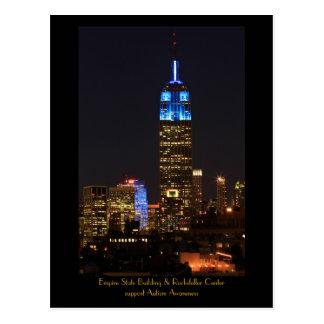 Empire state som bygger blått för Autism 2012 Vykort