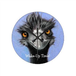 Emu Ostrich: Roligt vaket: Vak övre Time: konst Rund Klocka