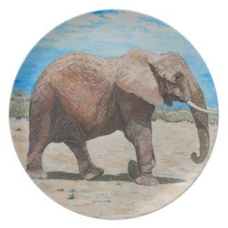 En afrikansk elefant på middagar tallrik