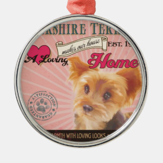 En älska Yorkshire Terrier gör vårt hushem Julgransprydnad Metall