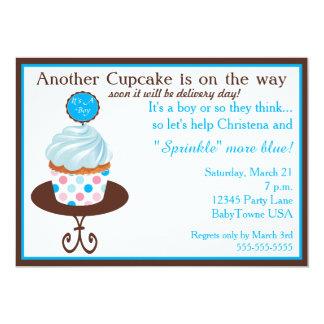 En annan inbjudan för muffinbabystänk (blått)