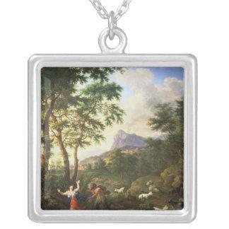 En Arcadian landskap med panorerar och panflöjten Silverpläterat Halsband