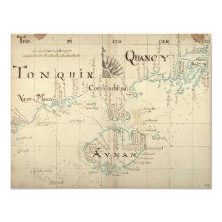 En autentisk karta för 1690 pirat 10,8 x 14 cm inbjudningskort