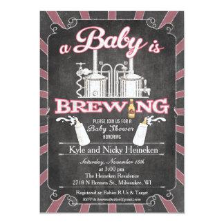 """""""En baby bryggar"""" parBBQ-inbjudan - flicka 12,7 X 17,8 Cm Inbjudningskort"""