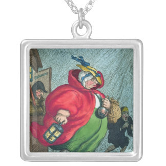 En barnmorska som går till ett arbete, 1811 halsband med fyrkantigt hängsmycke