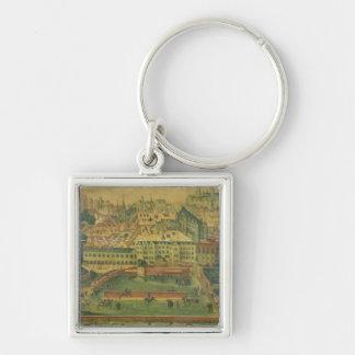 En beskåda av den kungliga slotten, Bryssel Fyrkantig Silverfärgad Nyckelring