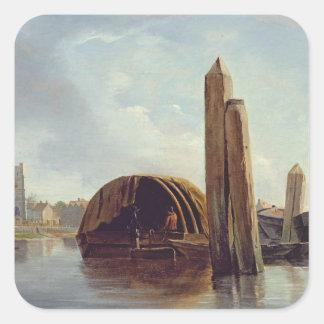 En beskåda av Lambeth (olja på panel) Fyrkantiga Klistermärken