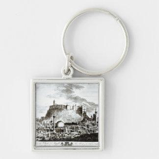 En beskåda av staden och slottet av Aleppo, Syrien Fyrkantig Silverfärgad Nyckelring