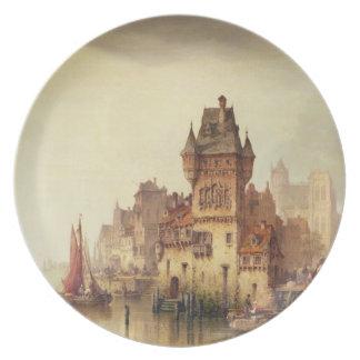 En beskåda på floden, Dordrecht, 1879 (olja på can Dinner Plate